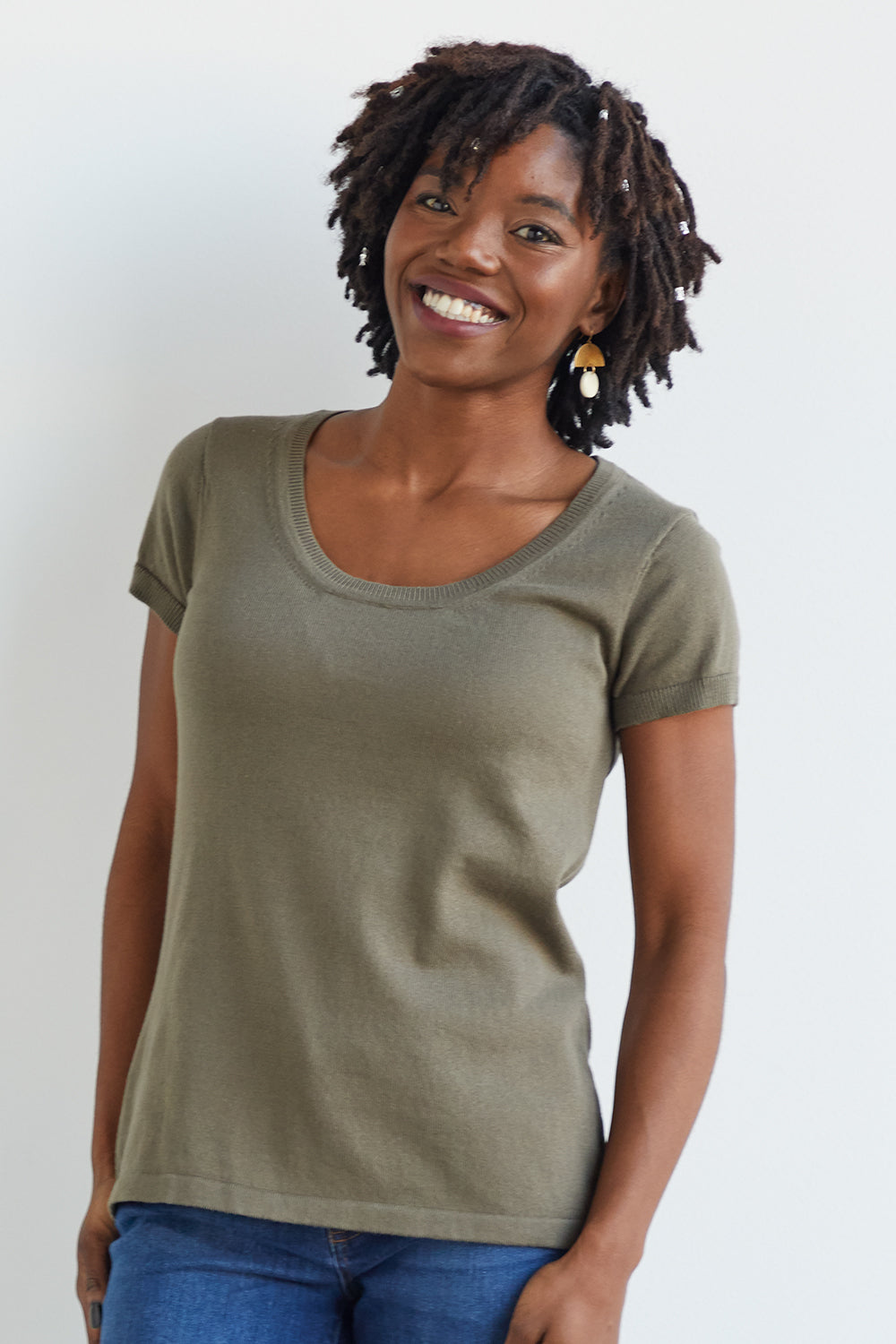 Womens Organic cotton Short Sleeve Sweater Tee Fatigue Olive Green - Fair Indigo
