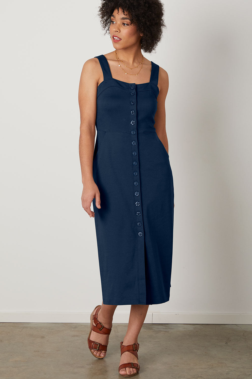 Womens 100% Organic Cotton Button Front Midi Dress Navy Blue - Fair Indigo