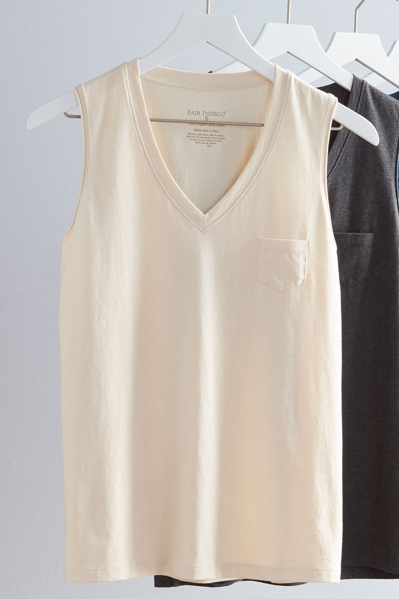 Womens 100% Organic Cotton Tank Top Fatigue Light Olive - Fair Indigo