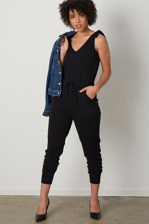 Womens Organic CottonJumpsuit Black - Fair Indigo