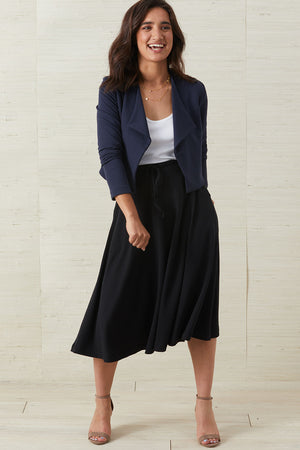 Womens Organic Knit Midi Skirt - Fair Indigo