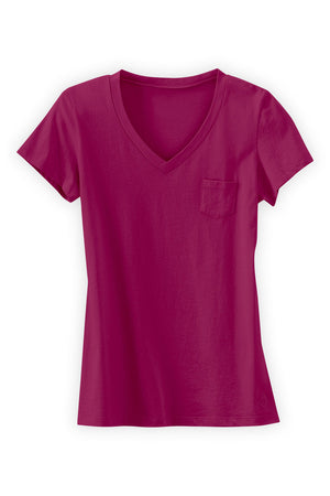 Womens 100% Organic Cotton V-neck T-shirt Pink - Fair Indigo
