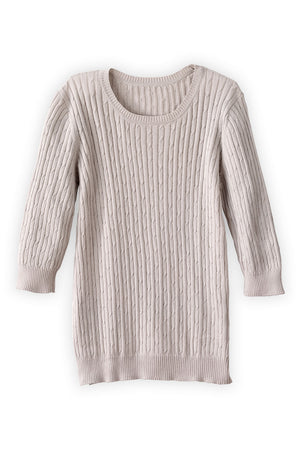 3/4-sleeve Cable Crew Sweater
