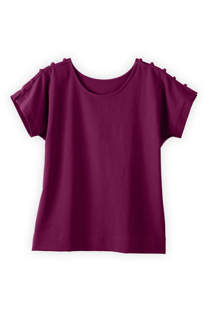 Womens Organic Cotton Button Sleeve Top - Fair Indigo