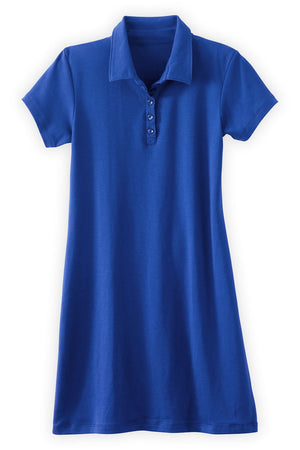 Womens Organic Cotton Polo Dress Blue - Fair Indigo