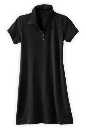 Womens Organic Cotton Polo Dress Black - Fair Indigo