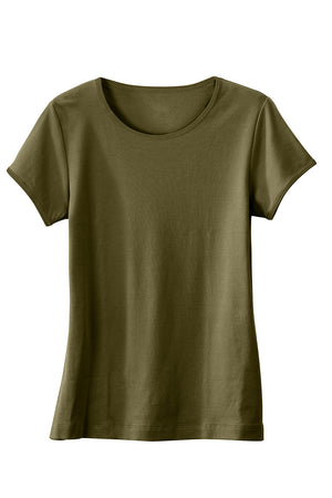 Womens 100% Organic Cotton Short Sleeve T-shirt Olive Green - Fair Indigo
