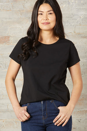 Womens Black Organic Cotton Crew Neck T-shirt - Fair Indigo
