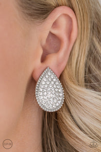 A Run For Their Money - White - Clip-On Earrings