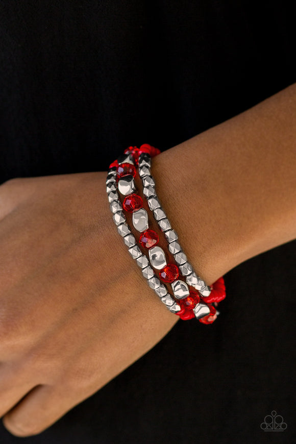 Beaded Bravado - Red - Stretch Bracelet