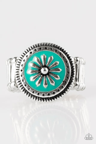 Free-Spirited Flower - Teal - Stretch Ring