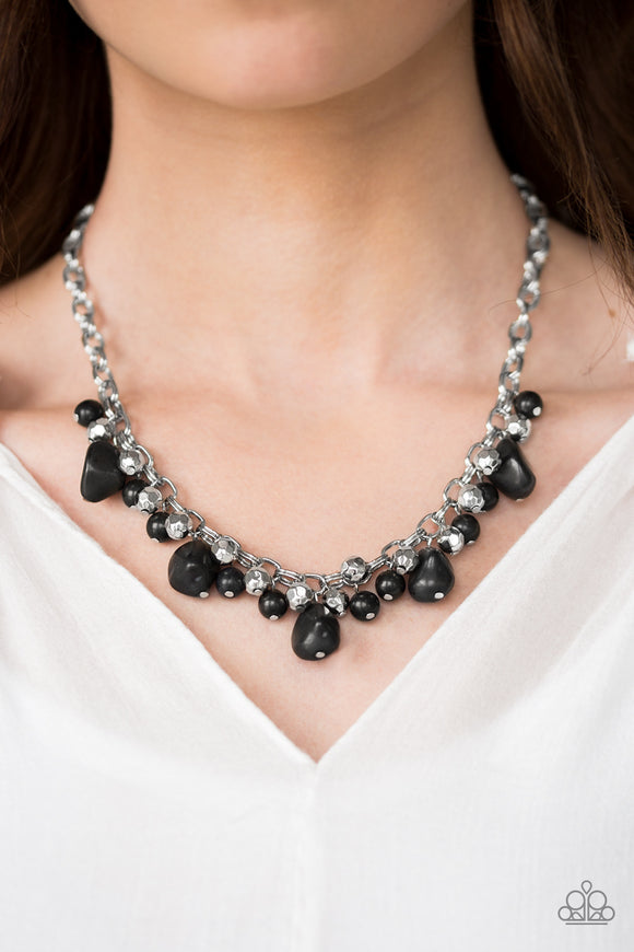 Paleo Princess - Short Necklace & Practical Paleo - Clasp Bracelet - Black - $10 SET