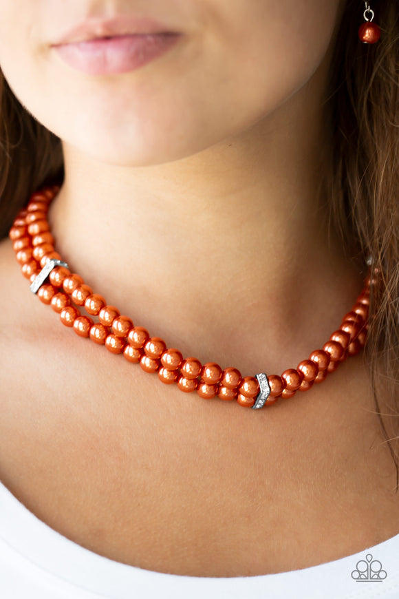 Put On Your Party Dress - Orange - Short Necklace