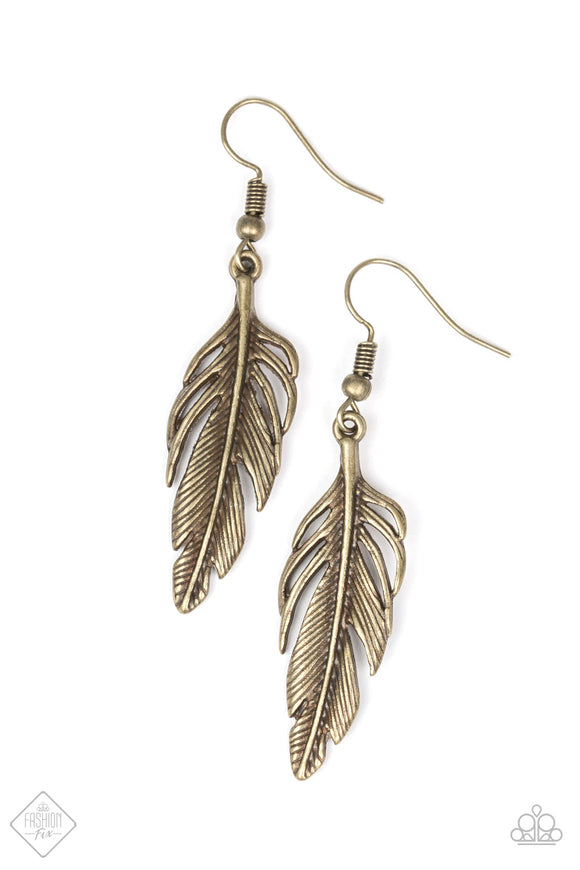 Gleaming Glider - Brass - Feather Earrings