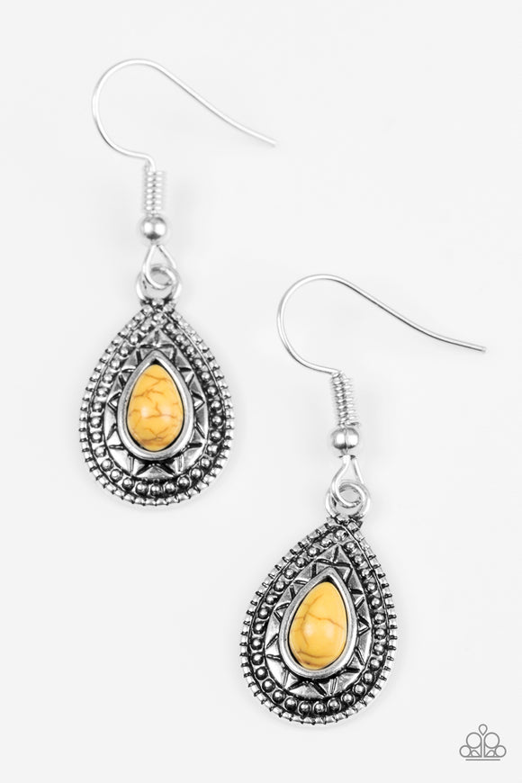 Blazing Beauty - Yellow - Earrings
