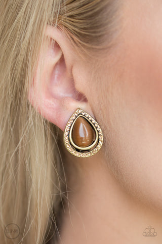 Noteworthy Shimmer - Brass - Clip-On Earrings