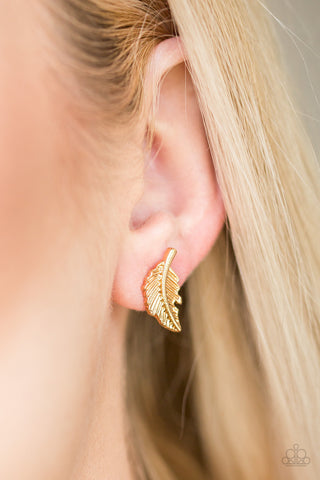 Flying Feathers - Gold Post Earrings