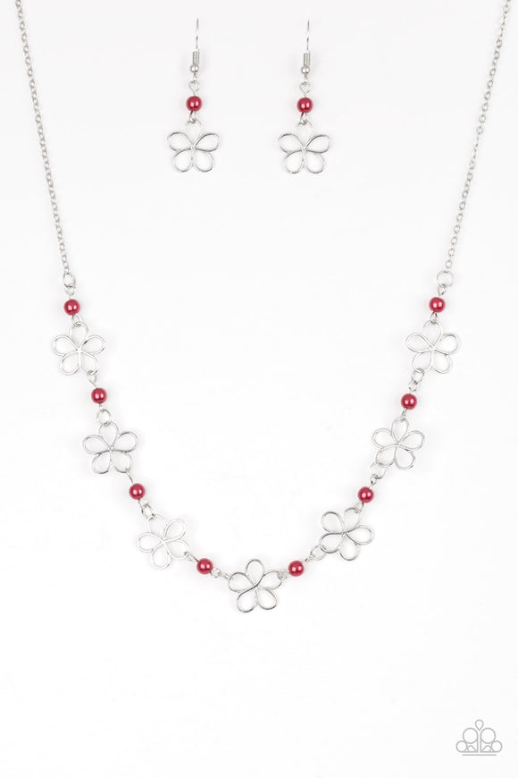 Always Abloom - Red - Short Necklace