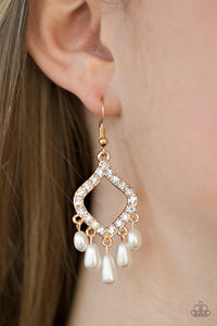 Divinely Diamond - Gold and Pearl - Earrings