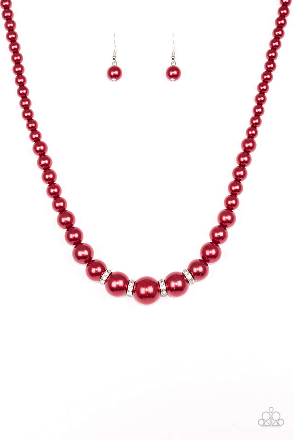 Party Pearls - Red - Short Necklace