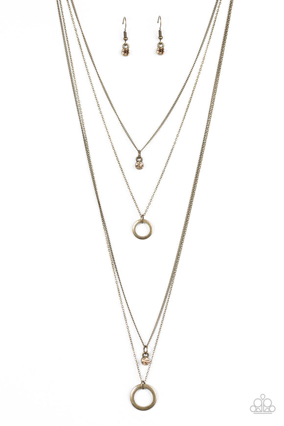 All About Elegance - Brass -  Long Layered Necklace