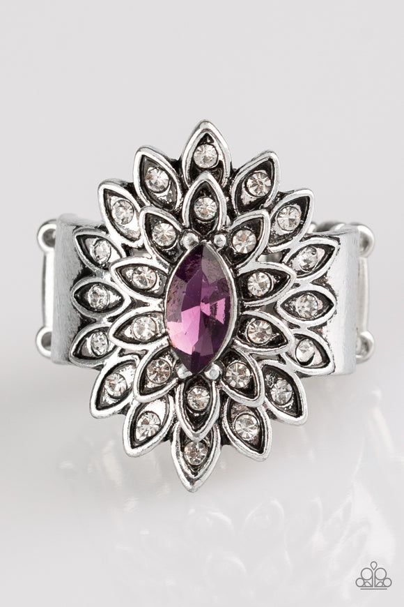 Blooming Fireworks - Purple - Stretch Ring