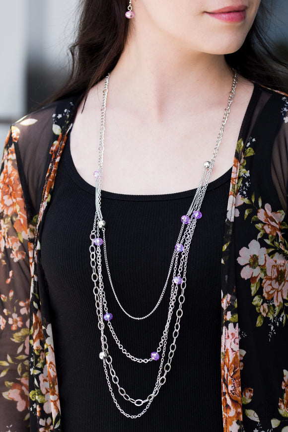 Glamour Grotto - Purple - Layered Necklace