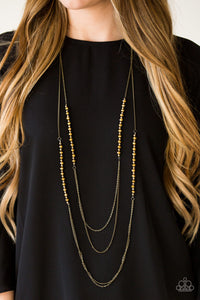 Shimmer Showdown - Brass - Long Necklace