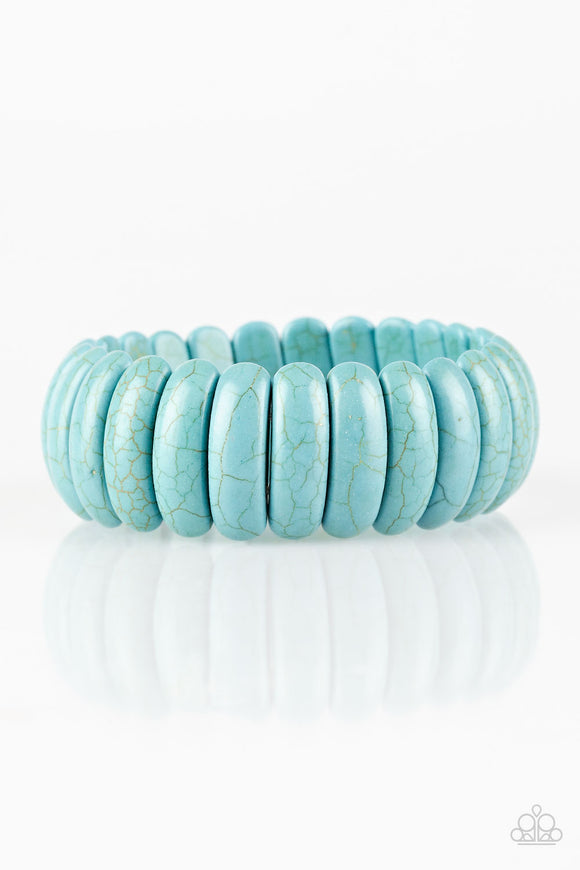 Peacefully Primal - Blue - Stretch Bracelet
