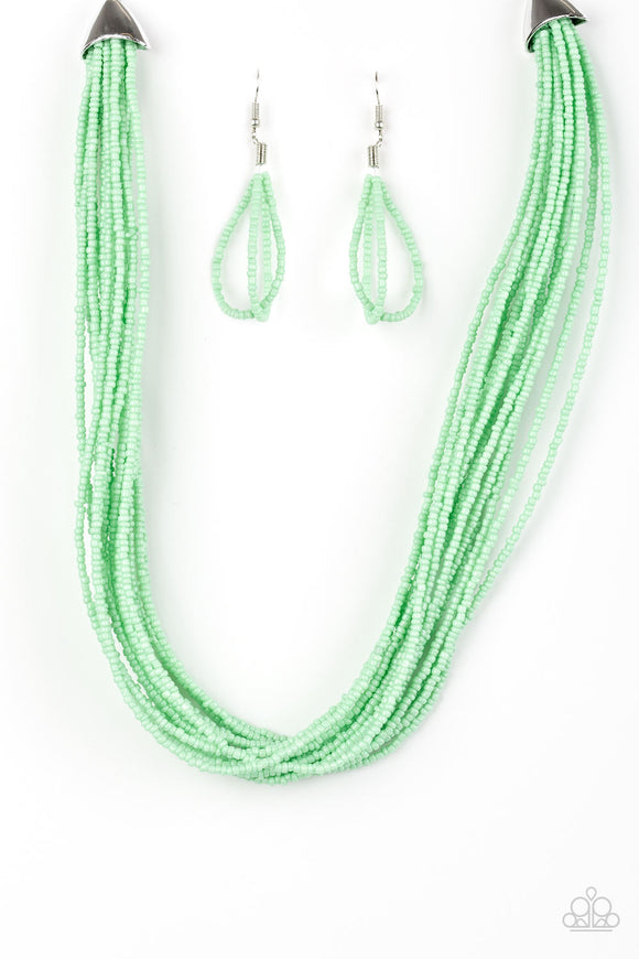 Wide Open Spaces - Short Necklace - Green Seed Beads