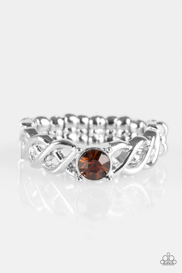 Cache Out - Brown Rhinestone - Stretch Ring