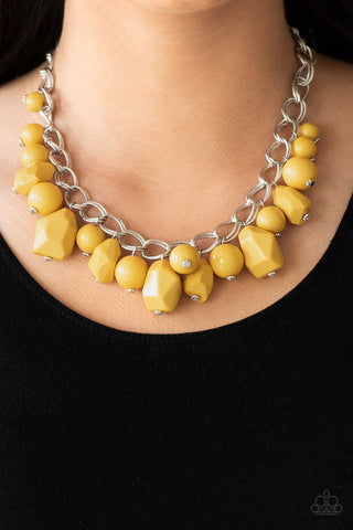 Gorgeously Globetrotter - Yellow - Short Necklace