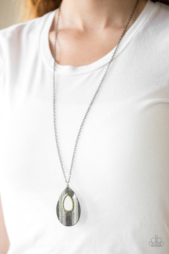 Stop, TEARDROP, and Roll - Green - Long Necklace