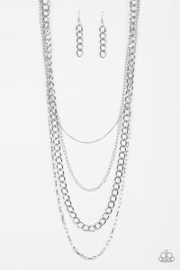Metro Metal - Silver - Long Layered Necklace