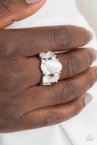 Modern Moonwalk - White Moonstone - Stretch Ring