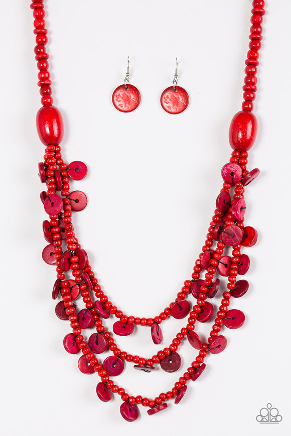 Safari Samba - Long Necklace - Red Wood Beads