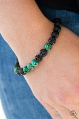 Tone Down - Green and Black - Stretch Bracelet