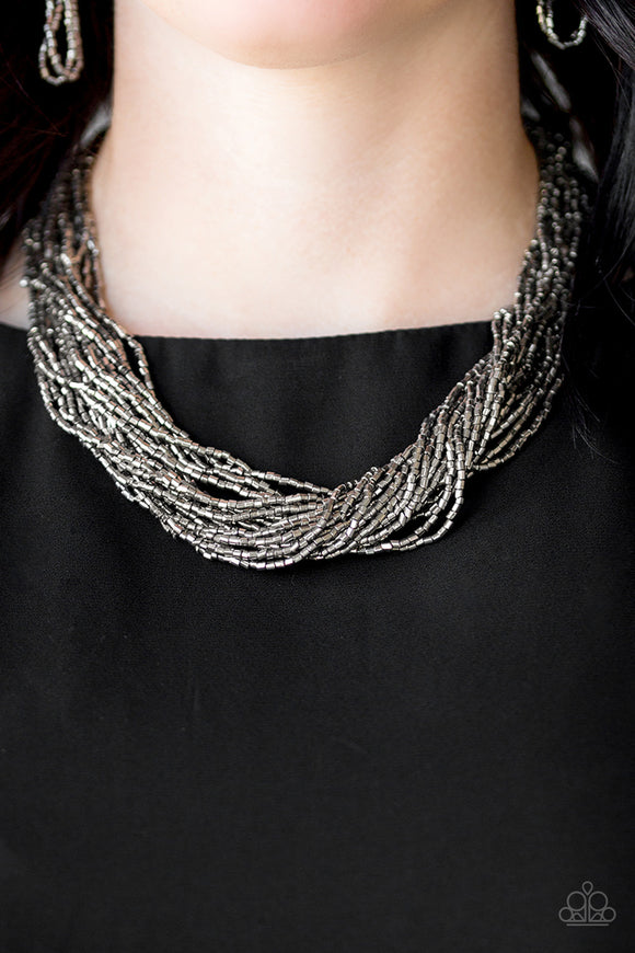 The Speed Of STARLIGHT - Gunmetal - Seed Bead Necklace