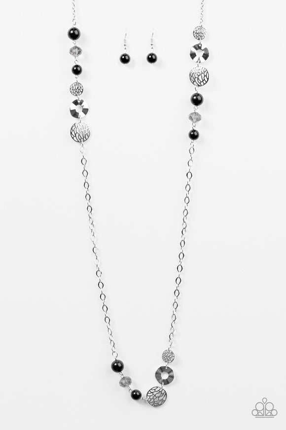 Midnight Musical - Silver -  Long Necklace