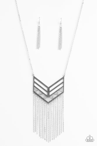 Alpha Attitude - Silver -  Long Necklace