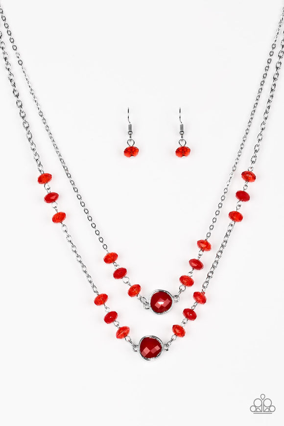 Gala Glow - Red - Short Necklace