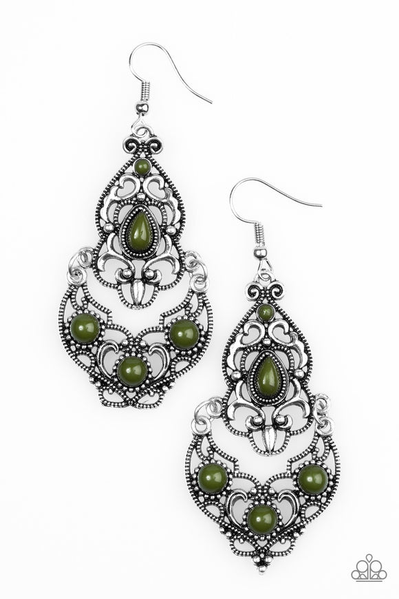 Jungle Runway - Olive Green - Earrings