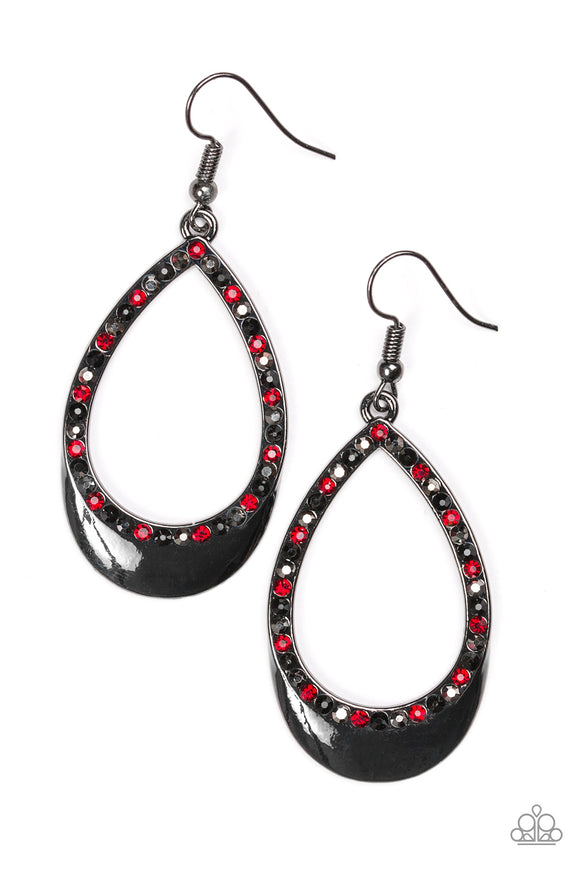 Make It Reign - Earrings - Red and Black