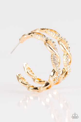 Cha-Ching Bling - Small - Gold Hoop Earrings