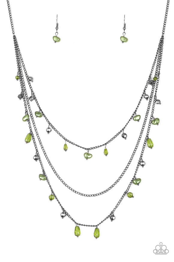 Pebble Beach Beauty - Green - Layered Medium Necklace