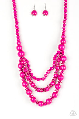 Rio Rainbows - Long Necklace - Wood Beads - Pink
