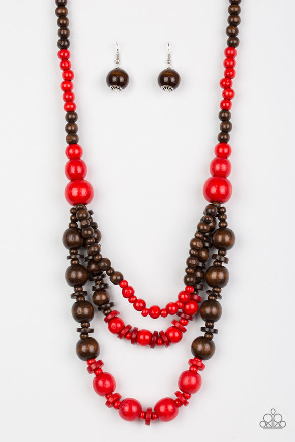 Rio Rainbows - Long Necklace - Wood Beads