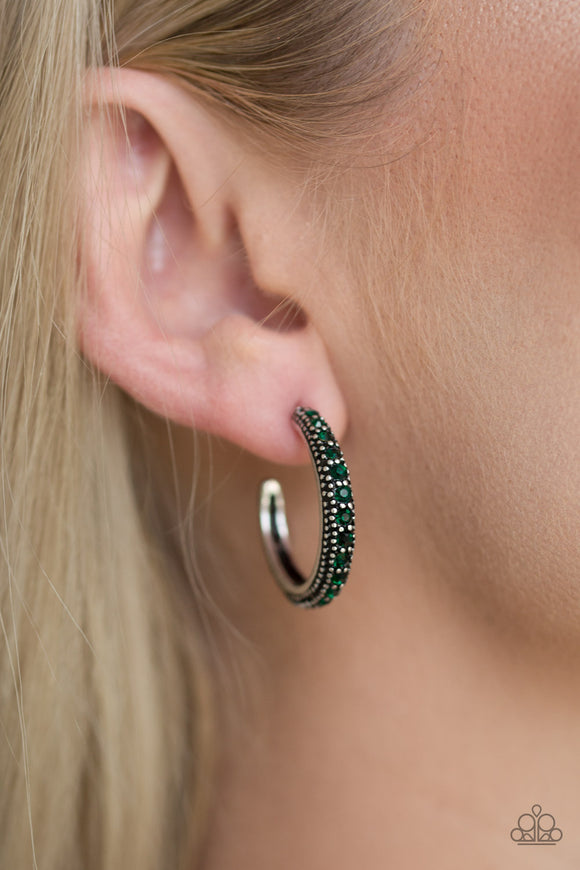 Twinkling Tinseltown - Hoop Earrings - Green Rhinestones