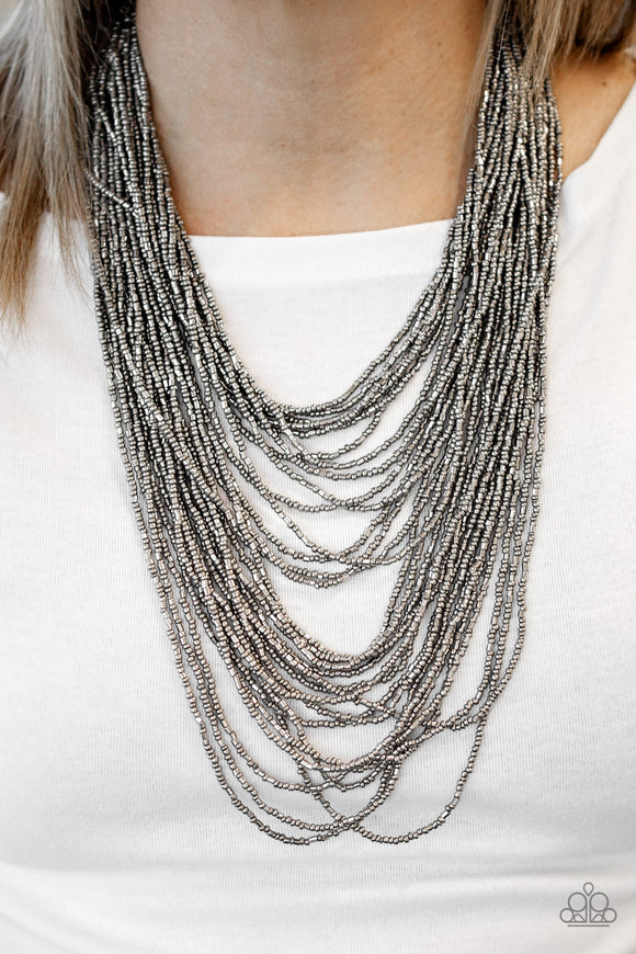 Dauntless Dazzle - Black/Gunmetal - Seed Bead Necklace