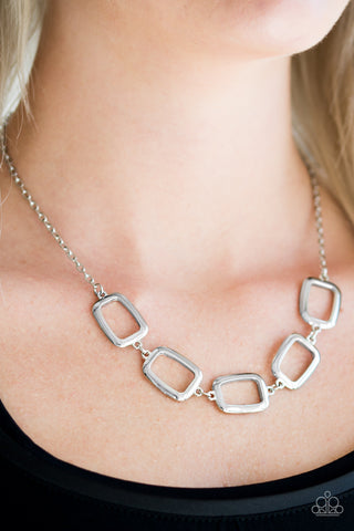 Gorgeously Geometric - Silver - Short Necklace
